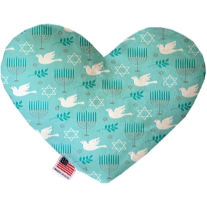Peace and Hanukkah Stuffing Free Heart Dog Toy