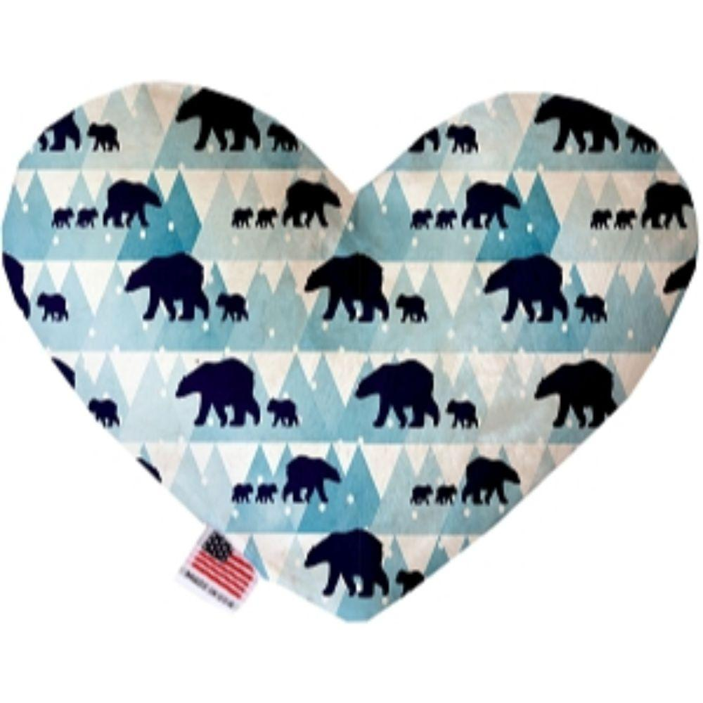 Winter Bear Tracks Canvas Heart Dog Toy