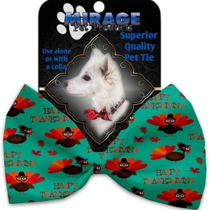Happy Thanksgiving Pet Bow Tie Collar Accessory with Velcro