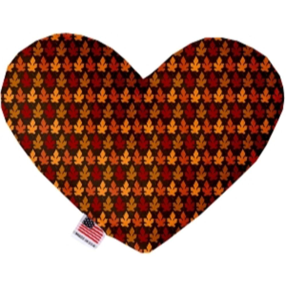 Autumn Leaves Canvas Heart Dog Toy