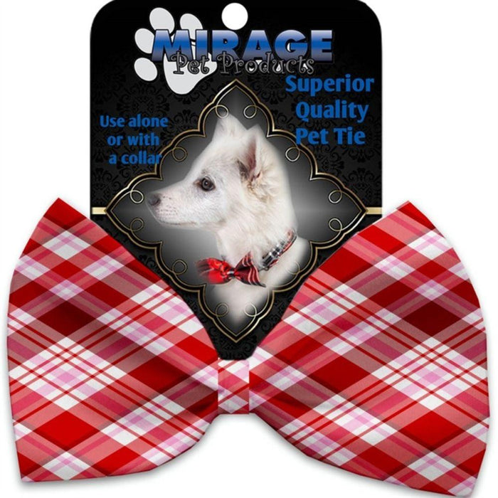 Valentines Day Plaid Pet Bow Tie