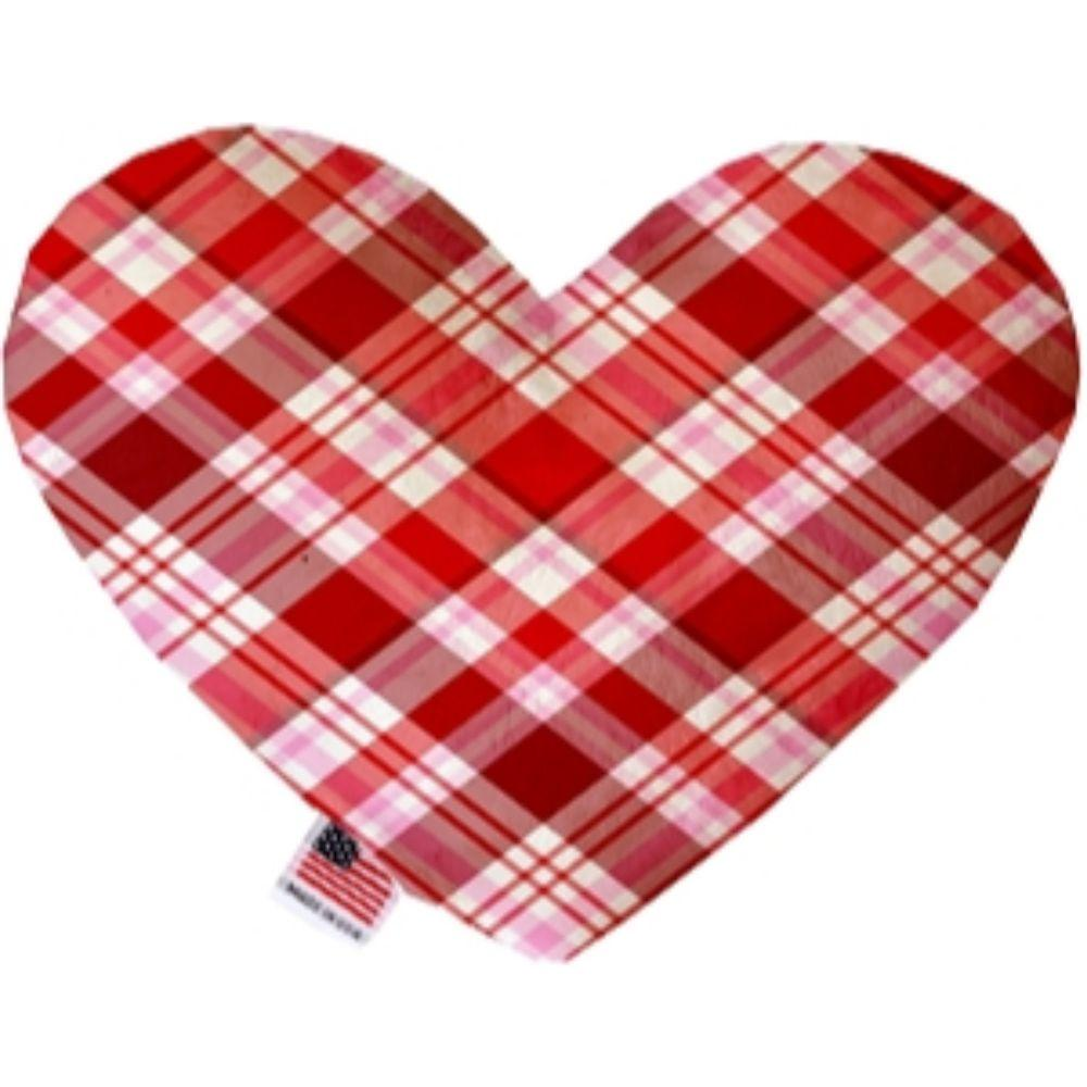 Valentines Day Plaid Canvas Heart Dog Toy