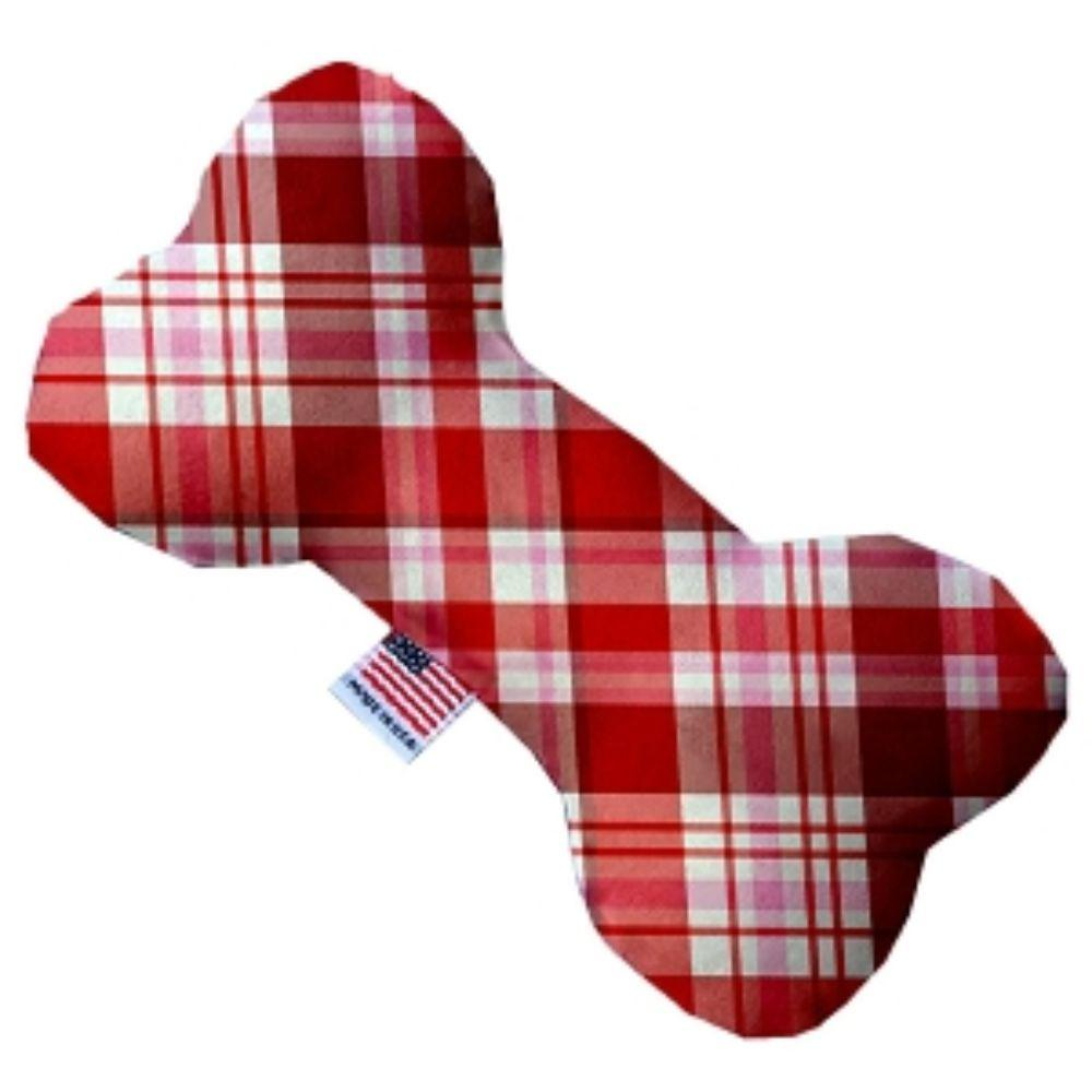 Valentines Day Plaid Bone Dog Toy