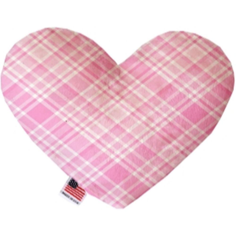 Cupid Pink Plaid Stuffing Free Heart Dog Toy