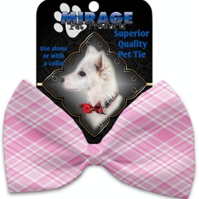 Cupid Pink Plaid Pet Bow Tie Collar Accessory with Velcro