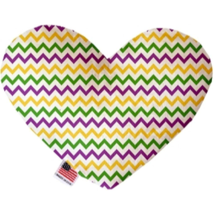 Mardi Gras Chevron Heart Dog Toy