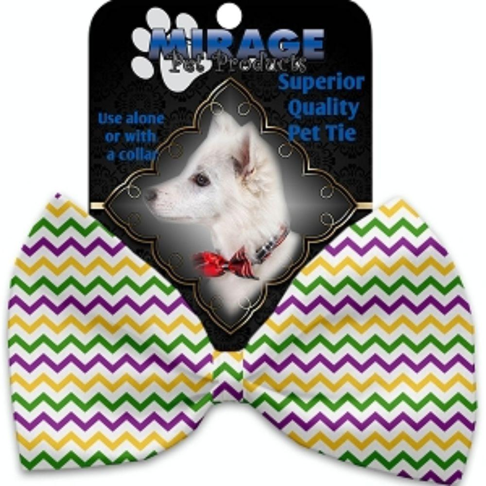 Mardi Gras Chevron Pet Bow Tie Collar Accessory with Velcro