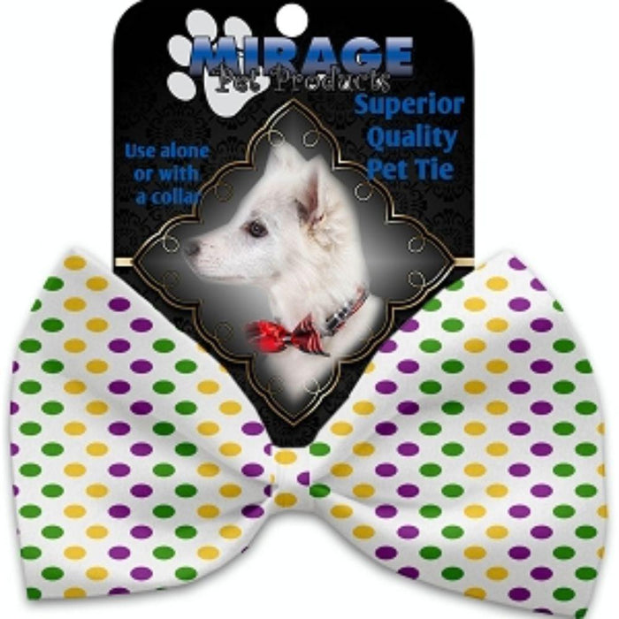 Mardi Gras Polka Dots Pet Bow Tie