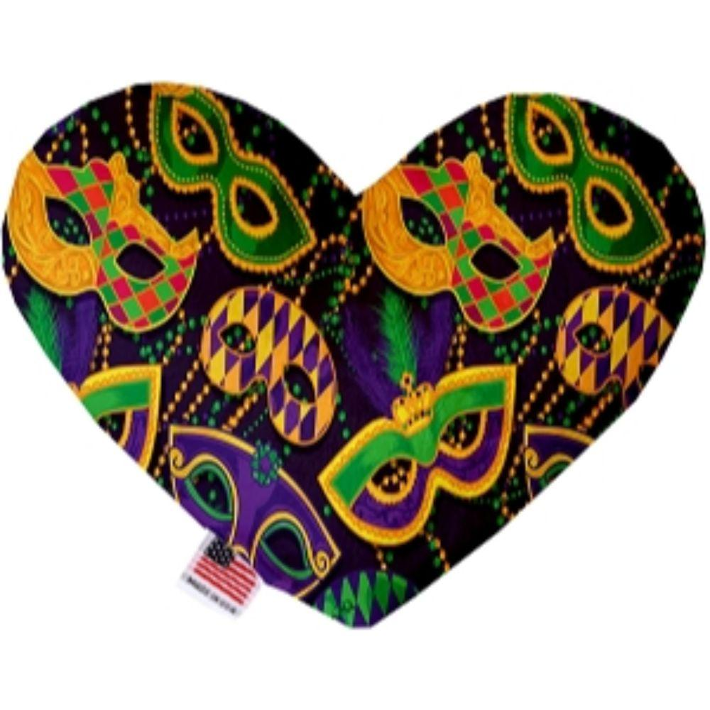 Mardi Gras Masquerade Stuffing Free Heart Dog Toy