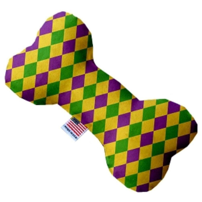 Mardi Gras Diamonds Stuffing Free Bone Dog Toy