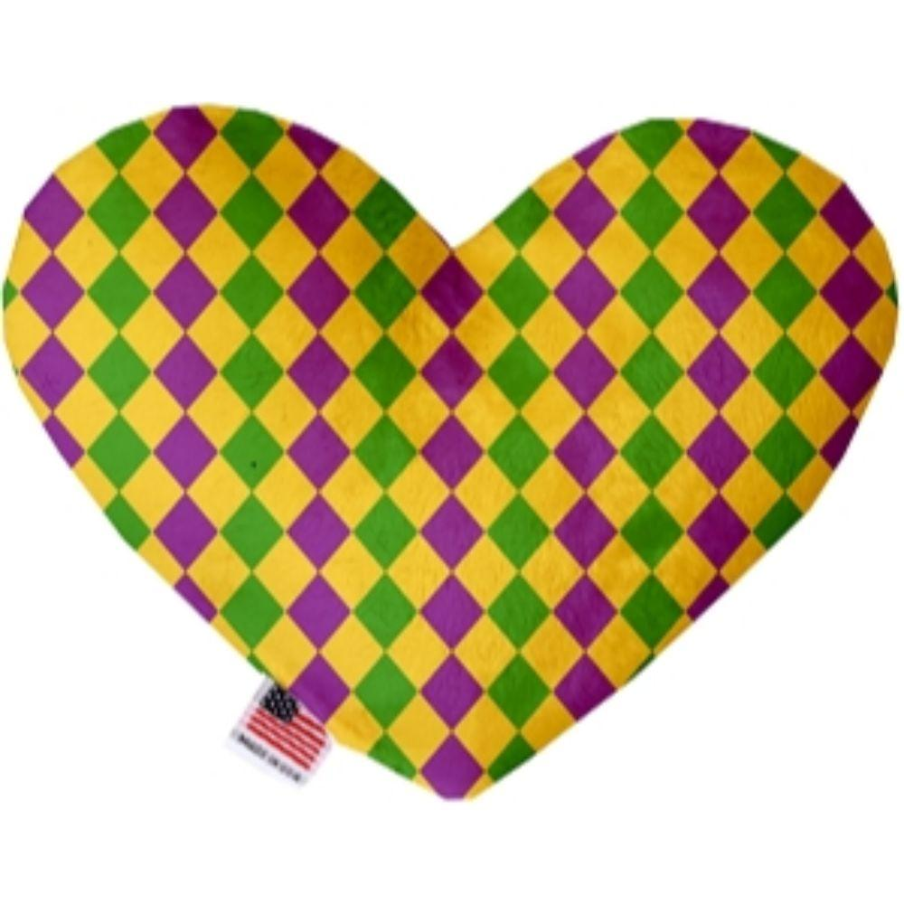 Mardi Gras Diamonds Heart Dog Toy