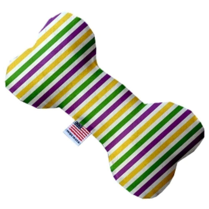 Mardi Gras Stripes Bone Dog Toy