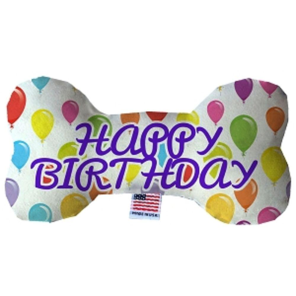 Happy Birthday Balloons Fluffy Bone Dog Toy
