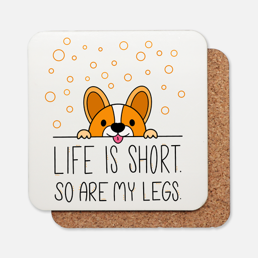Life Is Short Cork Back Coaster