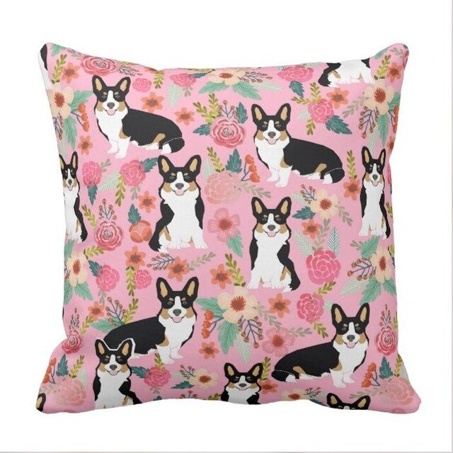 Tri Colored Corgi Floral pillow case - cute corgi gift