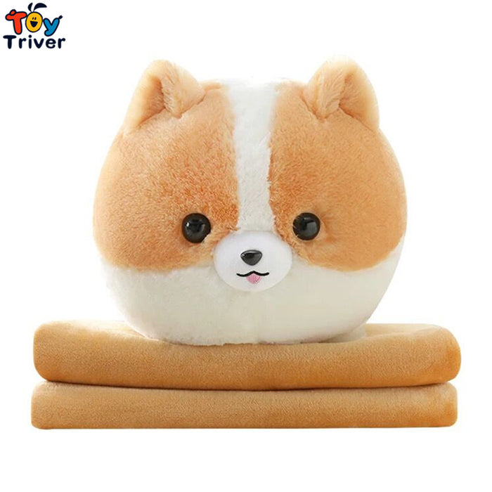 Plush Pomeranian Dog Portable Blanket Toy Doll Baby Kids Shower Car Air conditioning Travel Rug Office Nap Carpet Birthday Gift