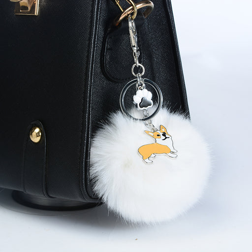 Welsh Corgi Pembroke Rabbit Fur Pompom Key Chain