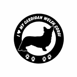 15CM*15CM  I Love My Cardigan Welsh Corgi Sticker Black/Silver