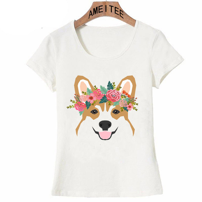 Women T-Shirt Corgis With Floral Crown/Heart/Galaxy/Butt
