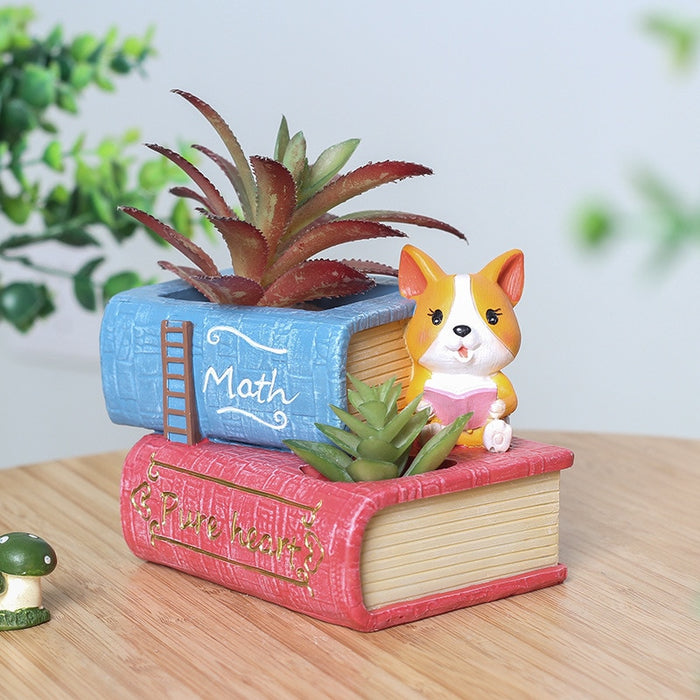 Cartoon corgi flower pot decoration