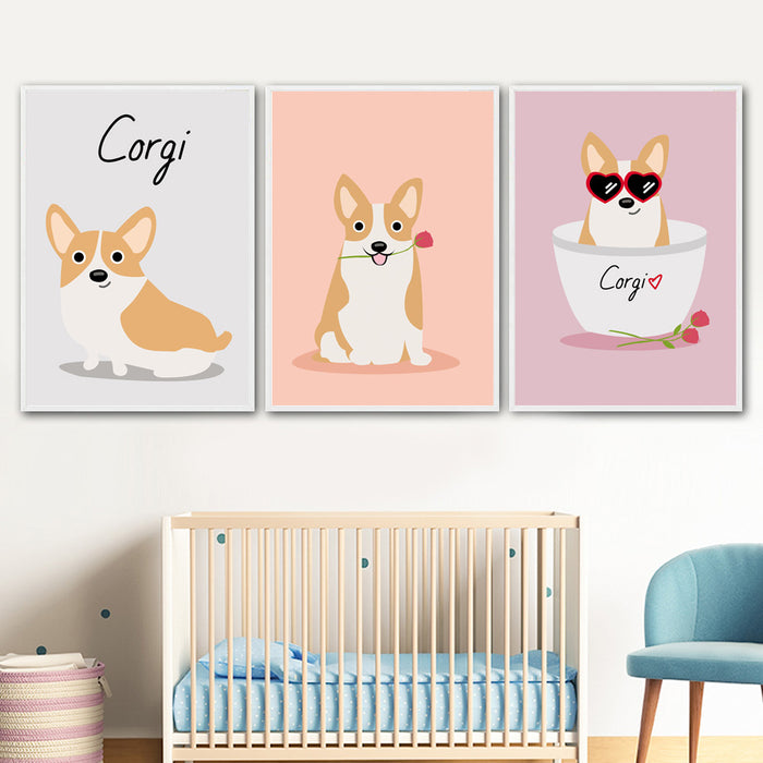 Corgi Art Canvas Painting