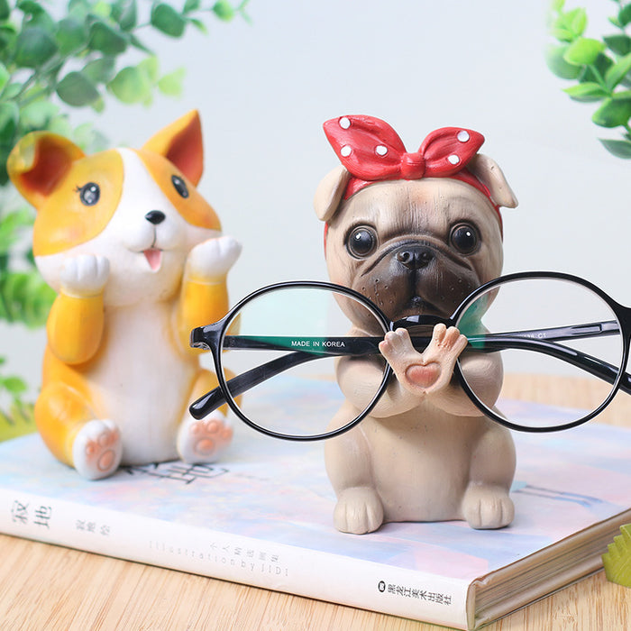 Creative animal dog glasses frame resin material office home desktop eye seat decoration corgi Schnauzer cute puppy frame-60189