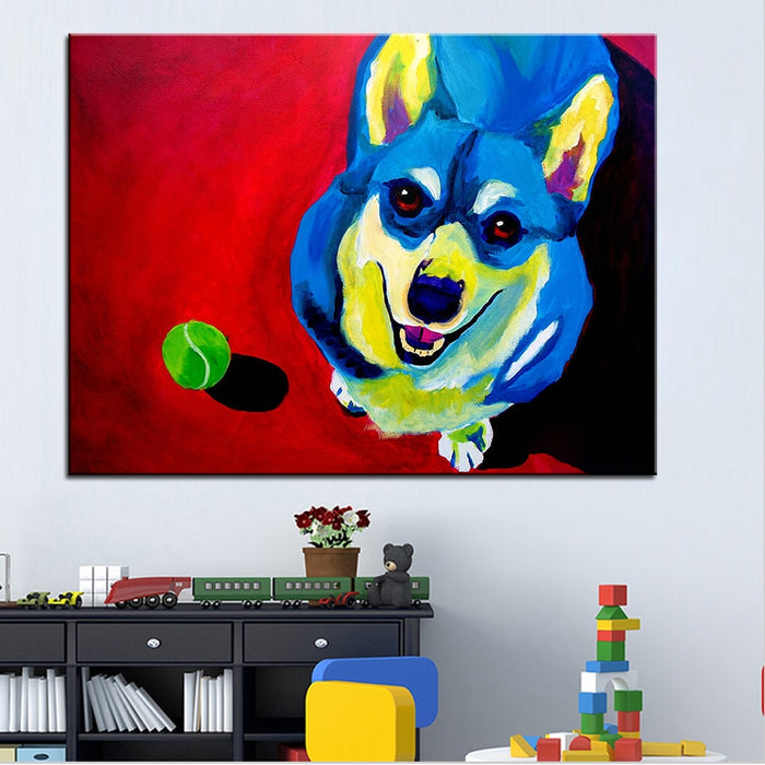 Large Size Oil Painting Corgi Play With Tenis