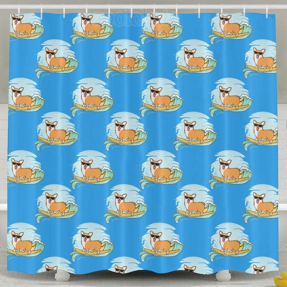 Surfing Corgi With Sunglass Shower Curtain