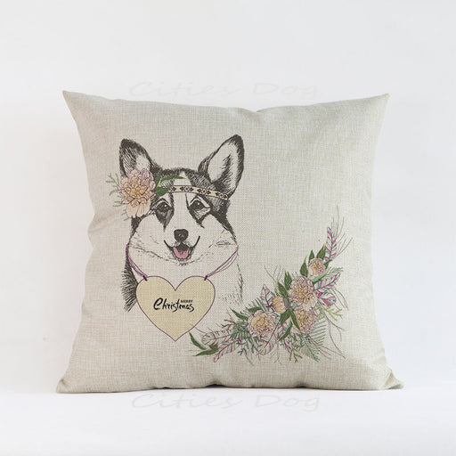 Handmade Merry Christmas Corgi and Friends Pillow Covers
