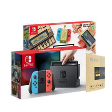 Nintendo Switch Console (Local Set) with Tempered Glass Screen Protector + Labo Toy-Con 01 Variety Kit