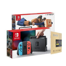 Nintendo Switch Console (Local Set) with Tempered Glass Screen Protector + Labo Toy-Con 02 Robot Kit