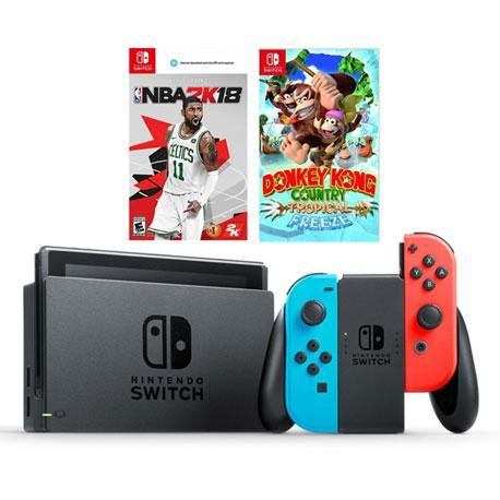 Nintendo Switch Console Neon (Local with 12 months warranty) + NS NBA 2K18 + NS Donkey Kong