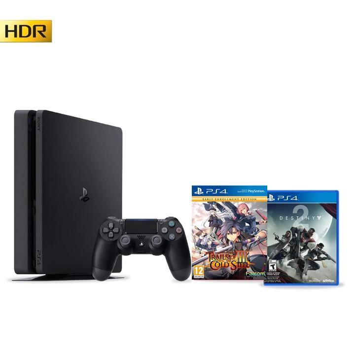 PS4 Slim 500GB Black with 2 games - Refurbished