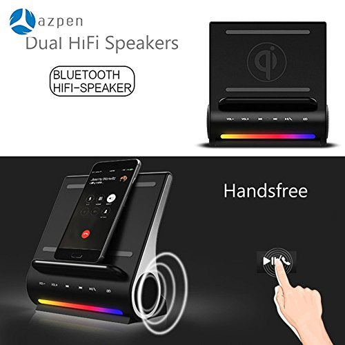 Wireless Charging Pad Docking Station LED Bluetooth Speaker AZPEN D100  Super Bass Stereo Subwoofer with Multi USB Ports for Android