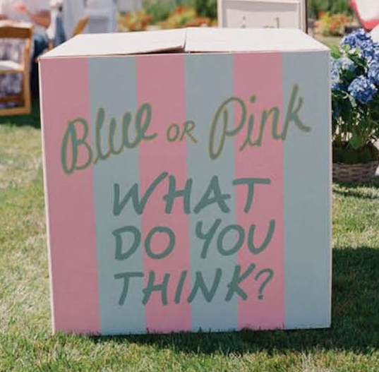 Pink and Blue Striped Gender Reveal Box