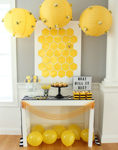 "Yellow ""what will it Bee"" themed gender reveal/ baby shower table and decor"