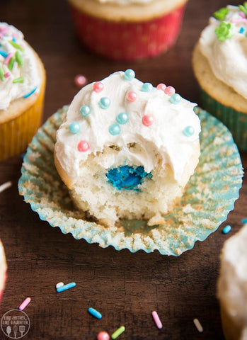 Blue centered gender reveal cupcake