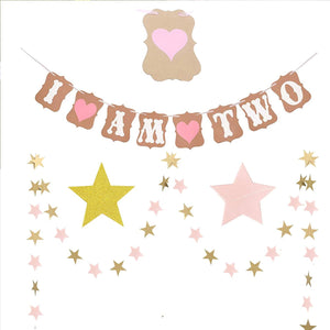 2nd Birthday - 28 Piece Pink, White & Gold Party Decorations Kit
