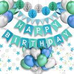 Blue, Green & Silver Birthday Party Decorations Kit