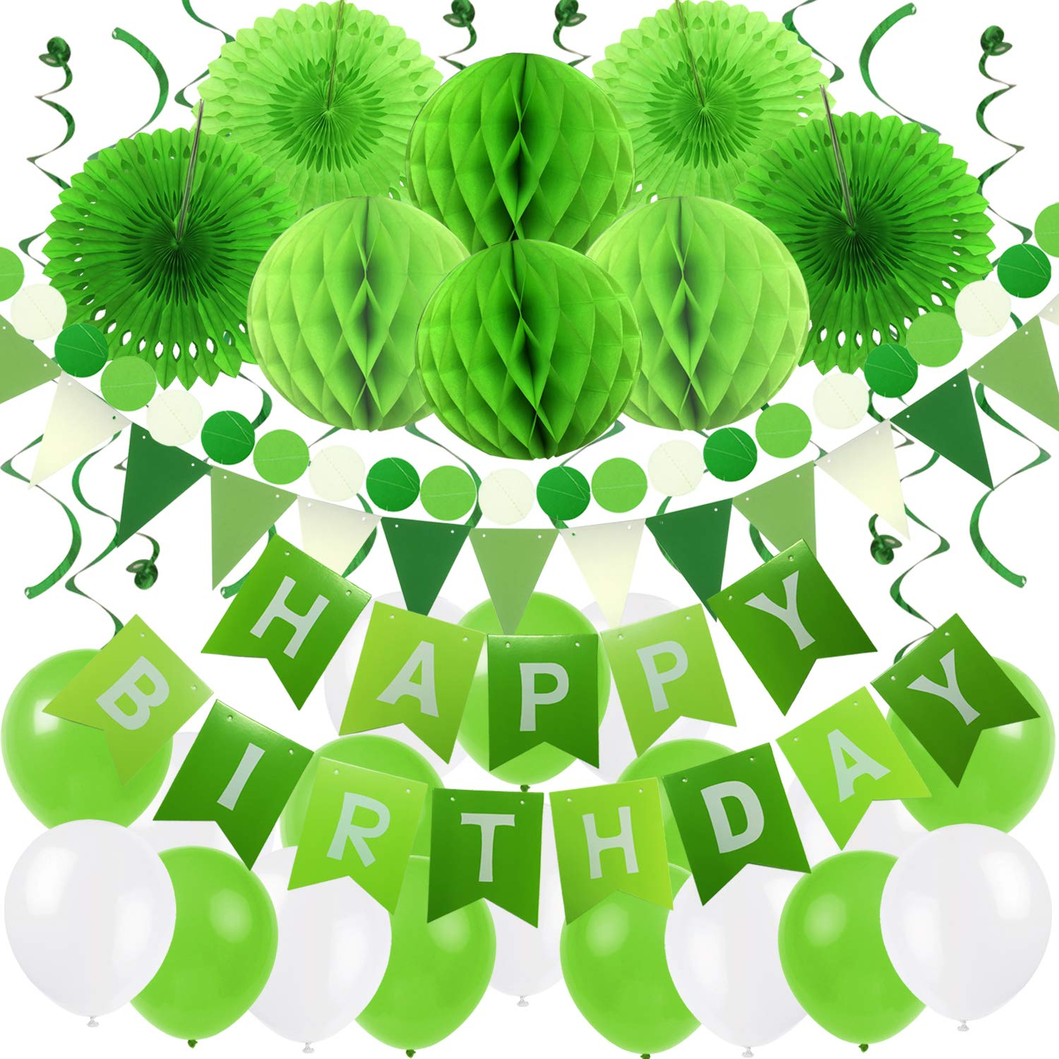 Green Birthday Party Decorations Kit