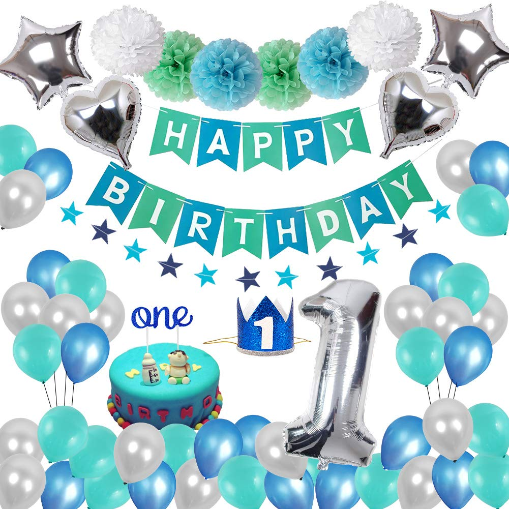 Blue, Silver & Green 1st Birthday Party Pack