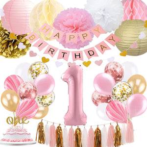 1st Birthday - 46 piece Pink & Gold Party Decorations Kit