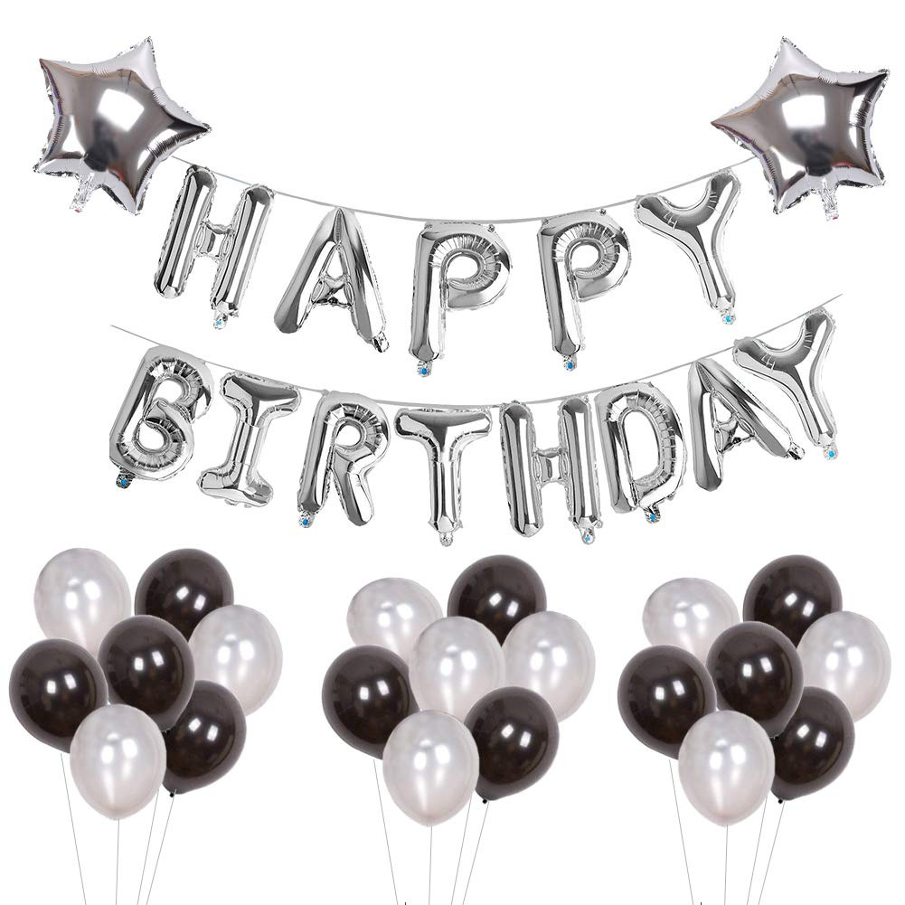Black & Silver Birthday Party Pack