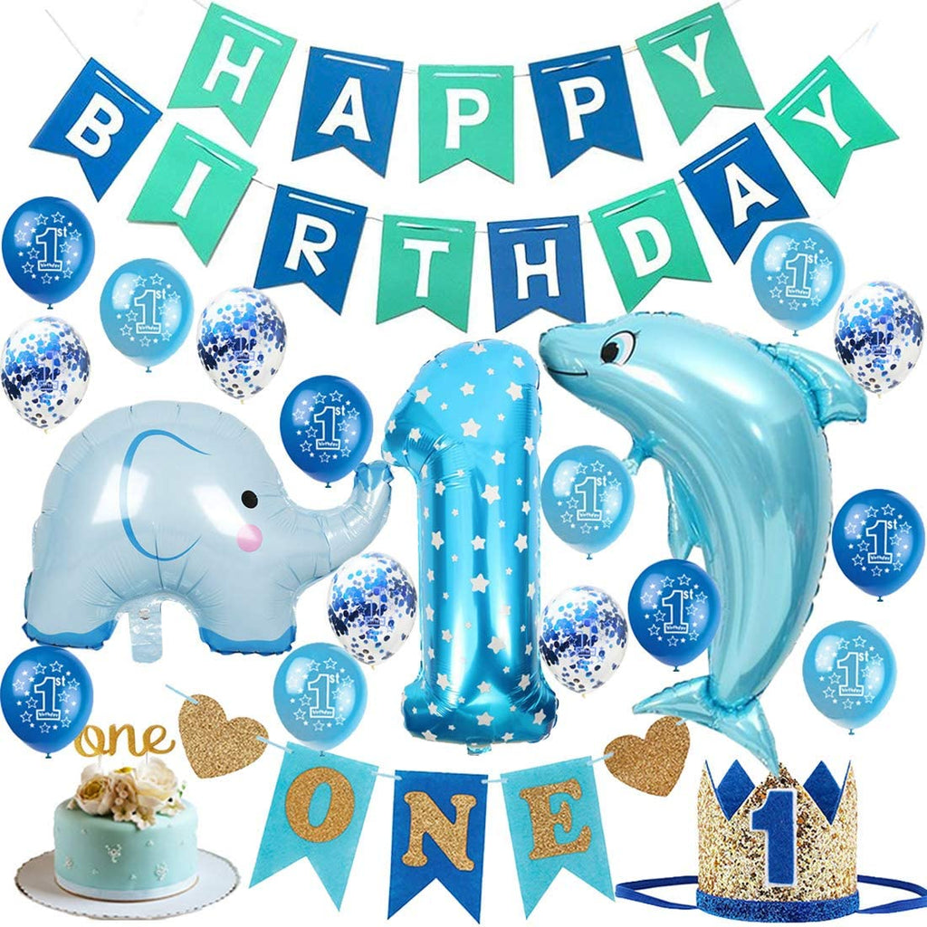 1st Birthday - 22 Piece Blue Dolphin & Elephant Birthday Party Decorations Kit