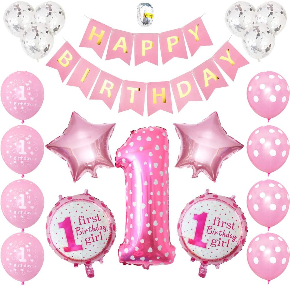 1st birthday - 20 Piece Pink & Silver Confetti Party Balloons Pack