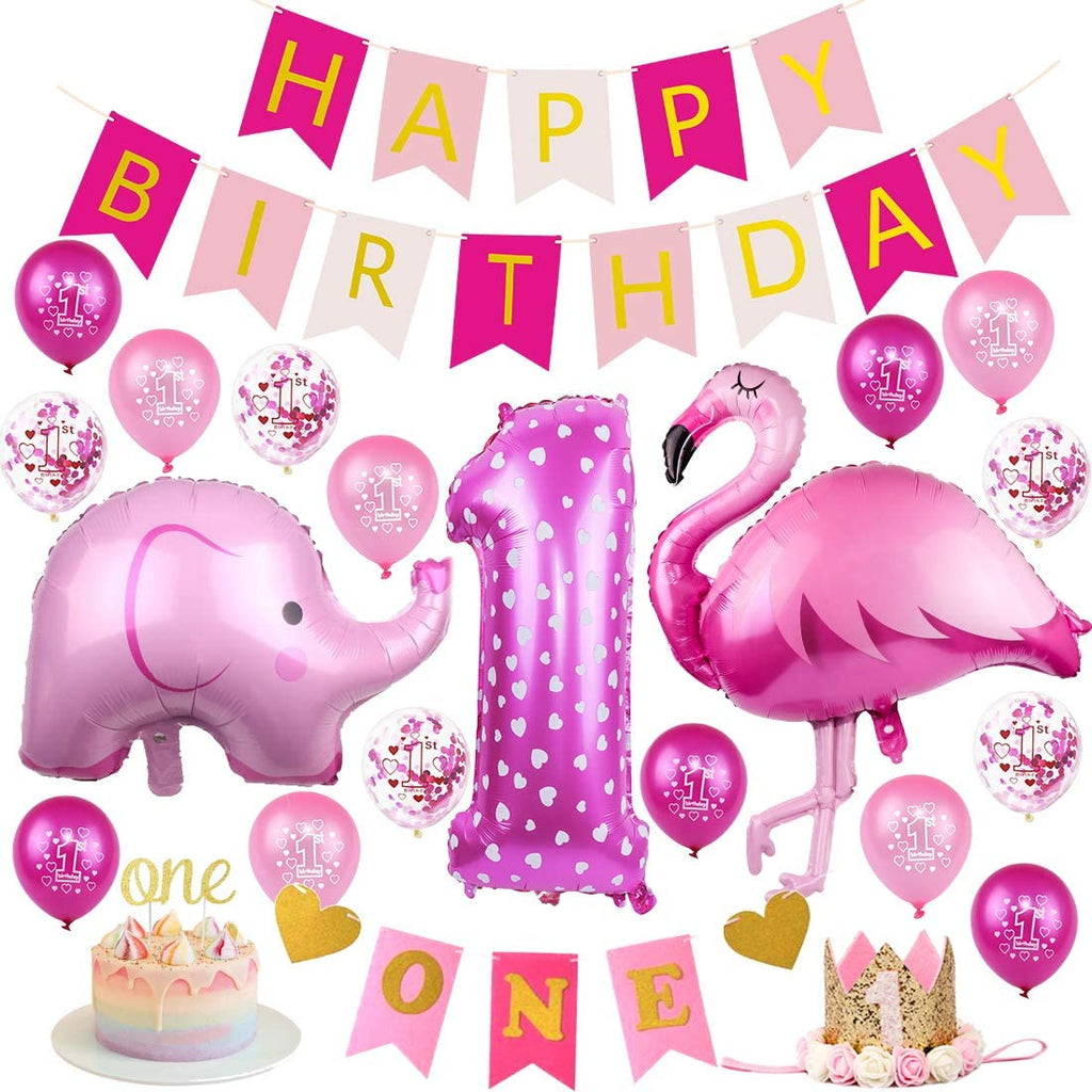 1st Birthday - 22 Piece Pink Flamingo & Elephant Birthday Party Decorations Kit