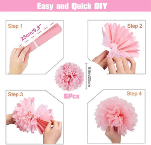 32 Piece Pink Confetti & Paper pompom Party Balloons Pack