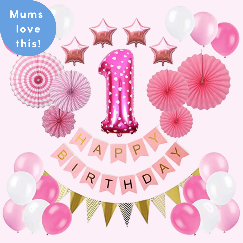 1st Birthday - 31 Piece Pink Polka Dot Birthday Party Decorations Kit