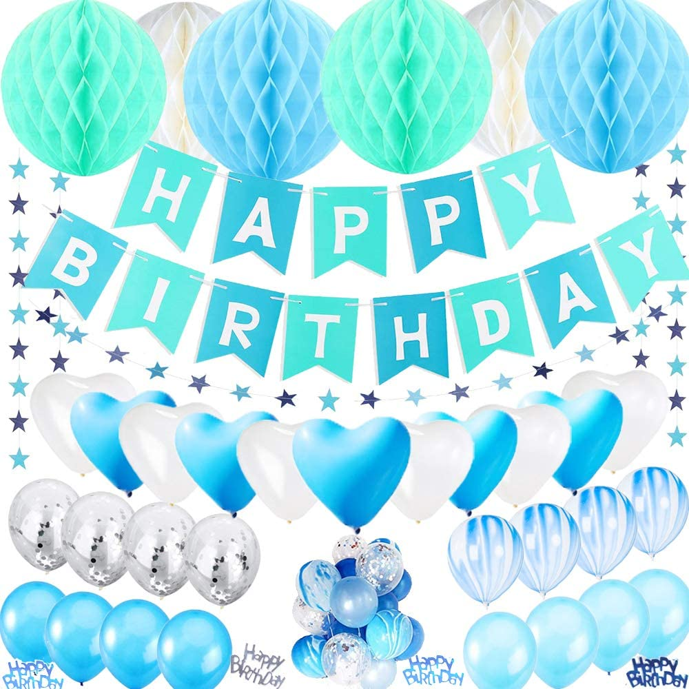 49 Piece Soft Blue Hearts Birthday Party Pack