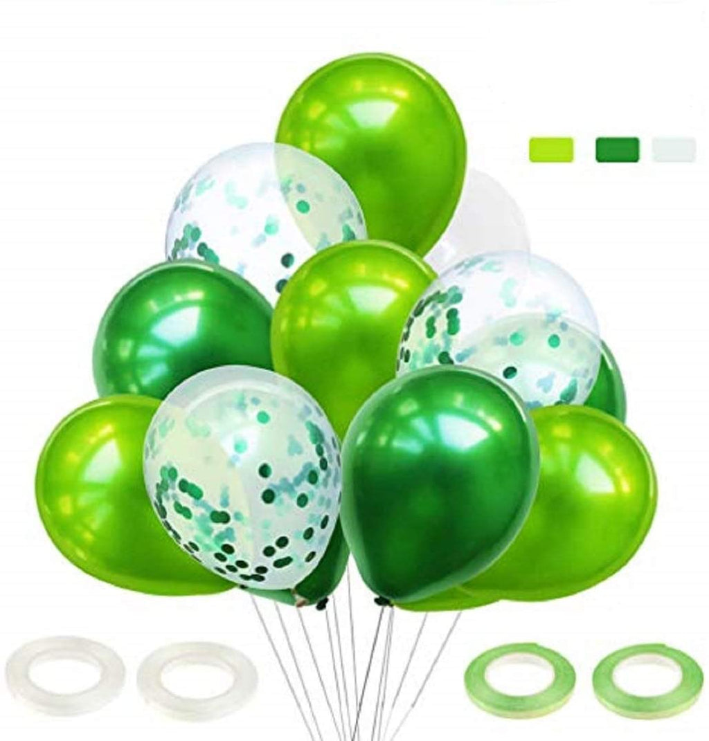 60 Green Confetti Balloon Bunch